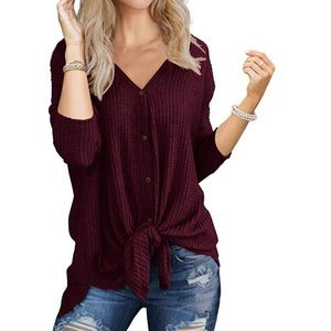 Knit Tunic Long Sleeve Button Down Tie Knot